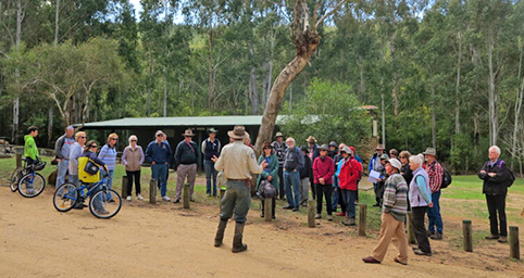 Ranger with group of visitors at Blue Range Camp