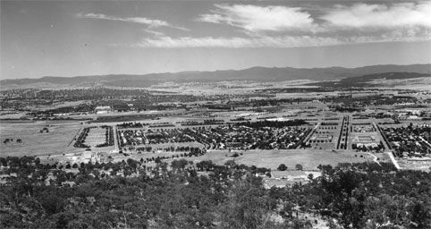Old photograph of the view over Canberra taken from Mt Ainslie..